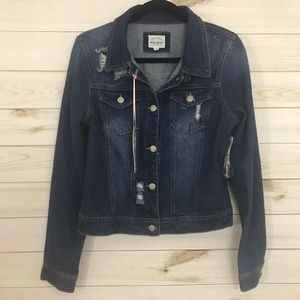 NWT Wax Jeans Basic Denim Distressed Jean Jacket